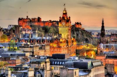 Fototapeta View from Calton Hill towards Edinburgh Castle - Scotland