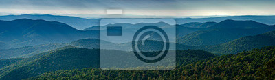 Fototapeta View of Blue Ridge Mountains (near) and Appalachian Mountains (distance) from overlook on Skyline Drive in Shenandoah National Park, Virginia, USA, in late September.