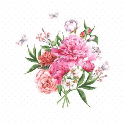 Fototapeta Vintage Akwarela kart z pozdrowieniami z kwitnących kwiatów i