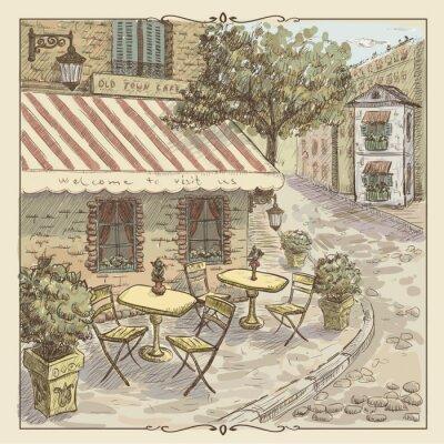 Fototapeta Vintage Akwarele ilustracji z ulicy kawiarni w starym mieście