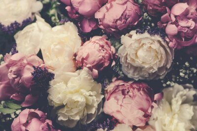 Fototapeta Vintage bouquet of pink and white peonies. Floristic decoration. Floral background. Baroque old fashiones style image. Natural flowers pattern wallpaper or greeting card