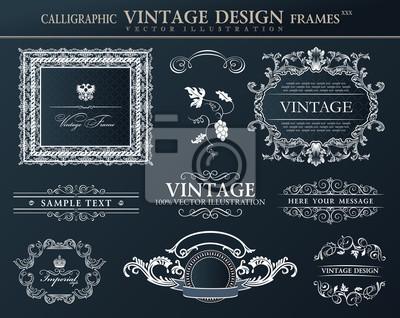Fototapeta Vintage czarnych ramek Ornament zestaw. Wektor elementem wystroju