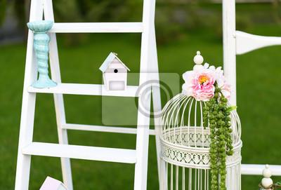 Vintage Dekoracje ślubne Z Białego Drewnianą ścianę Papug I