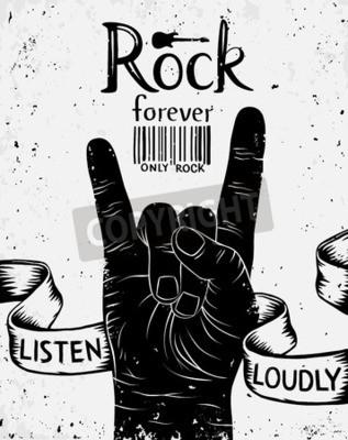 Fototapeta Vintage etykiety z rock na zawsze. Rock and Roll znak ręką