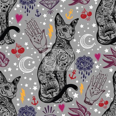 Vintage Kot Tradycyjny Tatuaż Bezszwowe Wzór Fototapeta