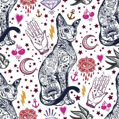 Vintage Kot Tradycyjny Tatuaż Wzór Fototapeta Fototapety Połknąć