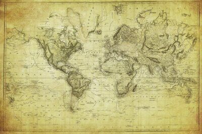 Fototapeta vintage, mapa świata 1831