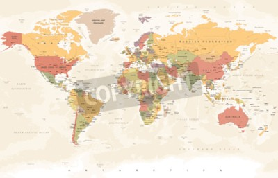 Fototapeta Vintage mapa świata - szczegółowe ilustracji wektorowych