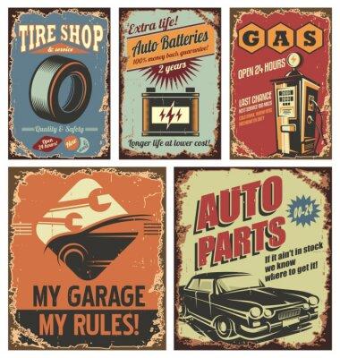 Fototapeta Vintage obsługi samochodów znaki cyny i plakaty