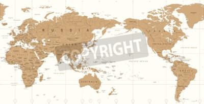 Fototapeta Vintage polityczna mapa świata Pacyfiku wyśrodkowany wektor ikona.