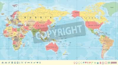 Fototapeta Vintage Polityczna mapa świata w centrum Pacyfiku - wektor.
