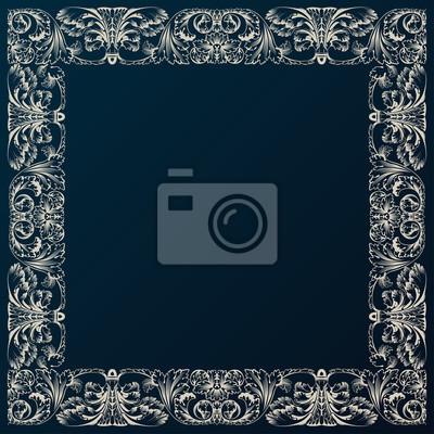 Fototapeta Vintage ramki granicy wystrój. Barokowy wzór z retro ornament
