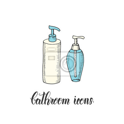Vintage Ręcznie Rysowane Butelki Z żel Pod Prysznic I Mydło W