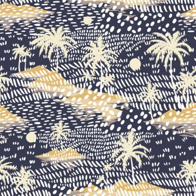 Fototapeta Vintage seamless island pattern. Colorful summer tropical background. Yellow landscape with palm trees, beach and ocean. Flat design, vector. Good for textile, fabric, t-shirt, wallpaper, wrapping.