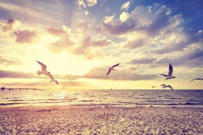 Fototapeta Vintage stonowanych plaża z lotu ptaków na zachód słońca