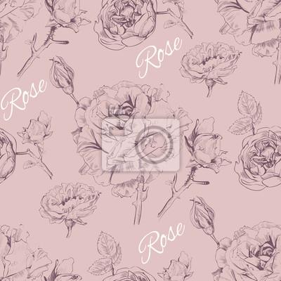 Fototapeta Vintage szwu projektowania graficznego wzrosła Pattern.Background kosmetyków kwiat róży, sklep, salon piękności, naturalne i ekologiczne produkty. ilustracji wektorowych