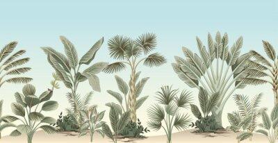 Fototapeta Vintage tropical palm tree, banana tree, plant floral border blue background. Exotic jungle wallpaper.