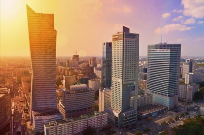 Fototapeta Warsaw downtown - aerial photo of modern skyscrapers at sunset