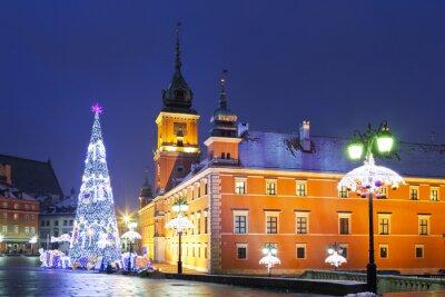Fototapeta Warszawa, Plac Zamkowy w święta Bożego Narodzenia