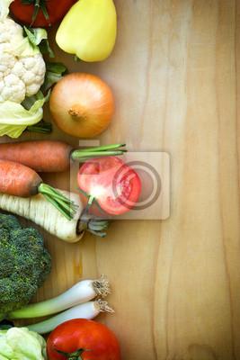 Fototapeta Warzywa na drewnianym tle