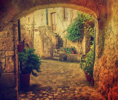 Fototapeta Wąska ulica średniowiecznych tuf miasta Sorano z łuku, zielone rośliny i brukowiec, podróże Włochy rocznika tle