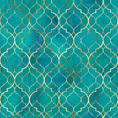 Fototapeta Watercolor abstract geometric seamless pattern. Arab tiles. Kaleidoscope effect. Watercolour vintage mosaic texture
