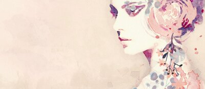 Fototapeta Watercolor abstract portrait of girl. Fashion background.