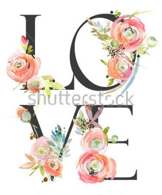 Fototapeta watercolor flower background. love