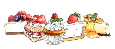 Fototapeta Watercolor hand painted sweet dessert cheesecakes and cupcakes illustration isolated on white background