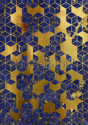 Fototapeta Watercolor marble background with geometric cube pattern.