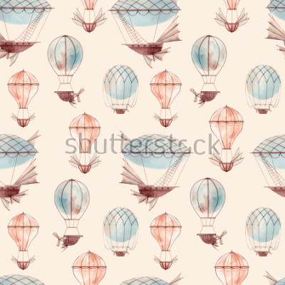 Fototapeta Watercolor pattern retro balloon, flying ship, baby wallpaper. retro wallpaper