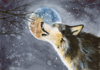 Fototapeta  Watercolor picture of a wolf with a moon on the background, snow and tree