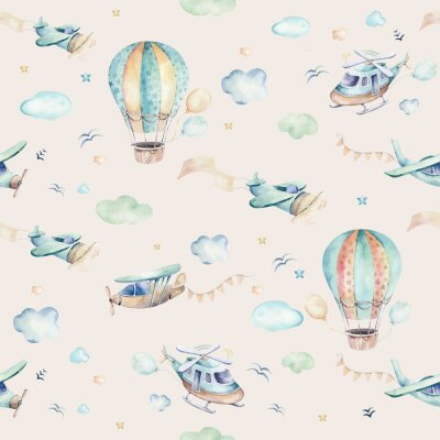Fototapeta Watercolor set background illustration of a cute cartoon and fancy sky scene complete with airplanes, helicopters, plane and balloons, clouds. Boy seamless pattern. It's a baby shower design