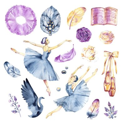 Fototapeta Watercolor sketch. Ballet accessories, pointes and skirt. Print elements.