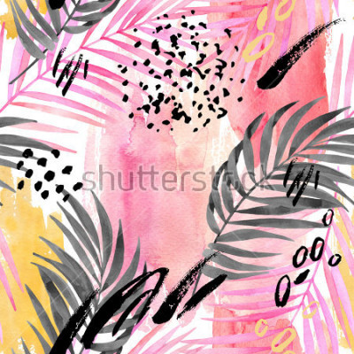 Fototapeta Watercolor tropical leaves seamless pattern. Watercolour pink colored and graphic palm leaf painting with minimal elements on color stains background. Hand painted art illustration for summer design.