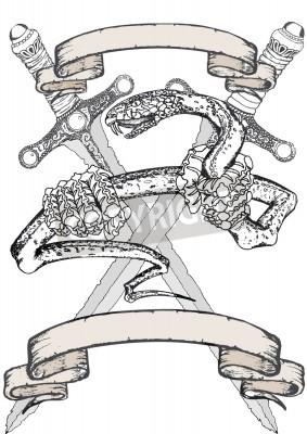 Fototapeta Wąż Tatuaż Z Jego Banerów I Dwa Miecze