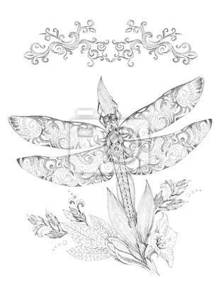 Fototapeta Ważki Piękne Wzory I Ozdoby Grafika Tatuaż