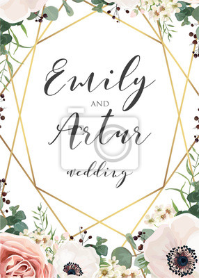 Fototapeta Wedding Elegant Invite Invitation Save The Date Card Design