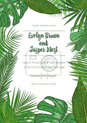 Fototapeta Wedding Event Invitation Card Template Exotic Tropical Jungle