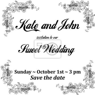 Fototapeta Wedding Invitation Card With Flowers Frame For Holidays Black