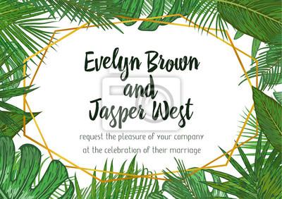 Fototapeta Wedding Invitation Floral Invite Card Design With Green Tropical