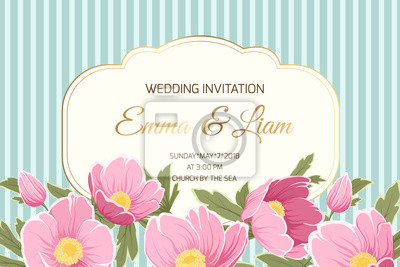 Fototapeta Wedding Marriage Event Invitation Card Template Anemone Hellebore