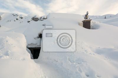 Fototapeta Wejście do chaty pokryte śniegiem