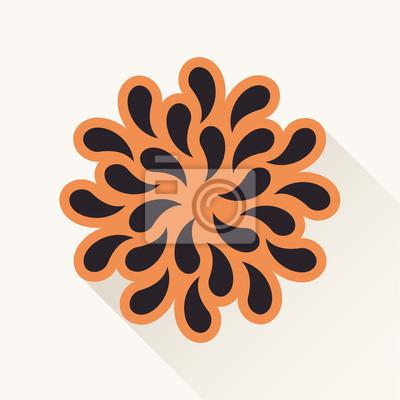 Fototapeta Wektor archiwalne kwiat. Rośliny sylwetka spada papieru brązowy