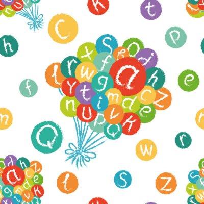 Fototapeta Wektor bez szwu - funny alfabetu angielskiego. Ręcznie rysowane kredą jak litery w kolorowe okręgi.