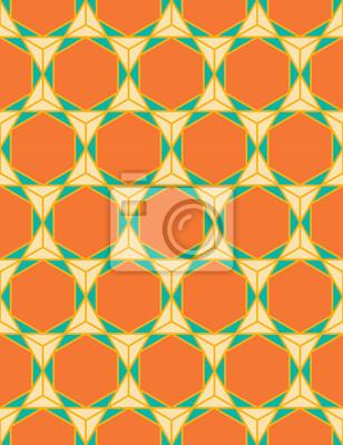 Fototapeta Wektor bez szwu kolorowe nowoczesna geometria wzór trójkąta wielokąta, kolor pomarańczowy abstrakcyjne geometryczne tło, trendy wielobarwny druk, retro tekstury, projektowanie mody hipster