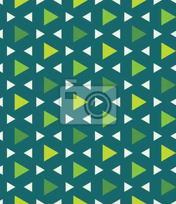 Fototapeta Wektor bez szwu kolorowe nowoczesna geometria wzór trójkąta wielokąta, kolor zielony abstrakcyjne geometryczne tło, trendy wielobarwny druk, retro tekstury, projektowanie mody hipster