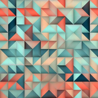 Fototapeta Wektor bez szwu Niebieski Różowy Gradient Triangle Nieregularne Siatka kwadratowy wzór