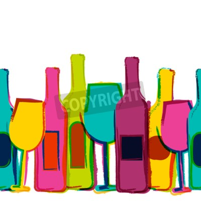 Fototapeta Wektor bez szwu tła akwarela, kolorowe butelki wina i szklanki. Koncepcja menu w barze, party, napojów alkoholowych, wakacje, wina, ulotki, broszury, plakaty, banery. Kreacja modny design.