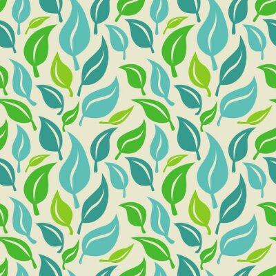 Fototapeta Wektor bez szwu tła z liści zielonych i niebieskich